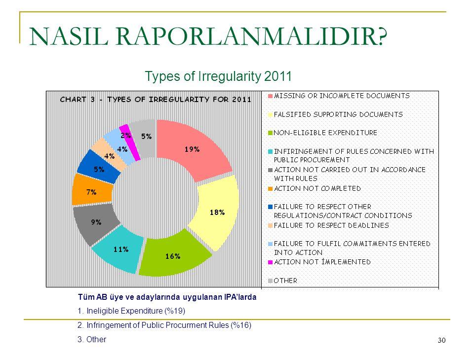30 NASIL RAPORLANMALIDIR? Types of Irregularity 2011 Tüm AB üye ve adaylarında uygulanan IPA'larda 1. Ineligible Expenditure (%19) 2. Infringement of
