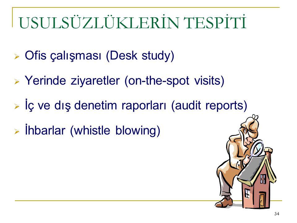 34 USULSÜZLÜKLERİN TESPİTİ  Ofis çalışması (Desk study)  Yerinde ziyaretler (on-the-spot visits)  İç ve dış denetim raporları (audit reports)  İhb