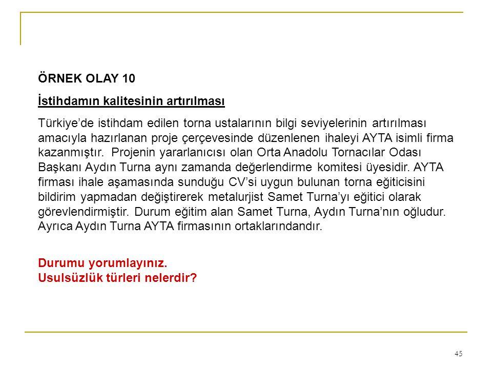 45 ÖRNEK OLAY 10 İstihdamın kalitesinin artırılması Türkiye'de istihdam edilen torna ustalarının bilgi seviyelerinin artırılması amacıyla hazırlanan p