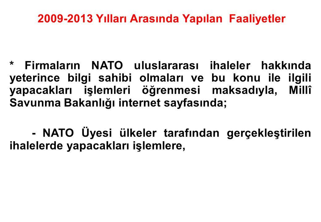 * Firmaların NATO uluslararası ihaleler hakkında yeterince bilgi sahibi olmaları ve bu konu ile ilgili yapacakları işlemleri öğrenmesi maksadıyla, Mil