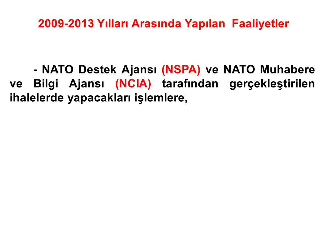 - NATO Destek Ajansı (NSPA) ve NATO Muhabere ve Bilgi Ajansı (NCIA) tarafından gerçekleştirilen ihalelerde yapacakları işlemlere, 2009-2013 Yılları Ar
