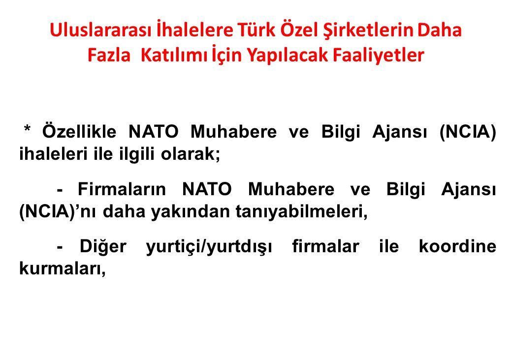 * Özellikle NATO Muhabere ve Bilgi Ajansı (NCIA) ihaleleri ile ilgili olarak; - Firmaların NATO Muhabere ve Bilgi Ajansı (NCIA)'nı daha yakından tanıy