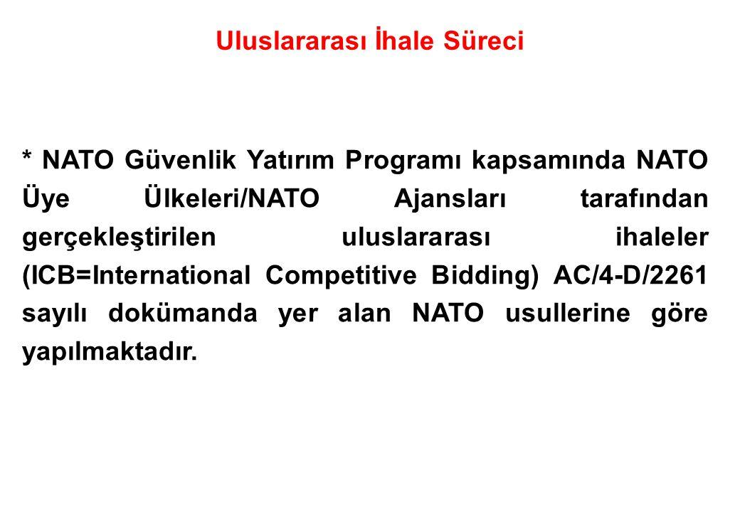 * NATO Üye Ülkeleri/NATO Ajansları tarafından duyurulan ihalelere katılacak firmaların tespitinde öncelikle söz konusu firmaların Türkiye'yi temsil edeceği ve yaşanacak herhangi bir sorunda Türkiye'nin itibarı etkileneceği hususları göz önüne alınarak, NATO kriterlerinde iş yapıp yapmadığı, firma iş deneyim belgelerinin www.msb.gov.tr adresinde yayımlanan kriterler bazında incelenerek tespit edilmektedir.
