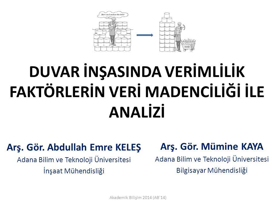 MATERYAL VE METOT – VERİ ÖNİŞLEME Akademik Bilişim 2014 (AB 14)12 Toplanan veri daha sonra önişlemden geçirilmiştir.