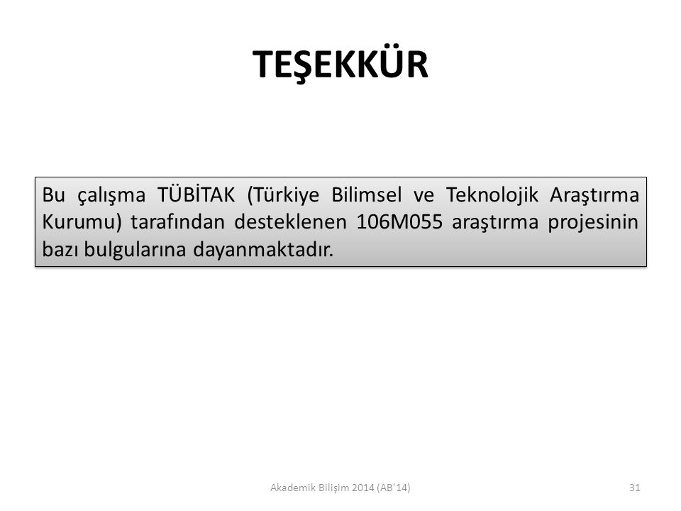 TEŞEKKÜR Akademik Bilişim 2014 (AB'14)31 Bu çalışma TÜBİTAK (Türkiye Bilimsel ve Teknolojik Araştırma Kurumu) tarafından desteklenen 106M055 araştırma