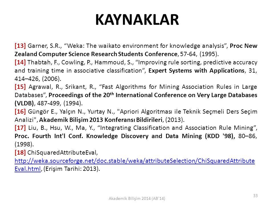 "KAYNAKLAR Akademik Bilişim 2014 (AB'14) [13] Garner, S.R., ""Weka: The waikato environment for knowledge analysis"", Proc New Zealand Computer Science R"