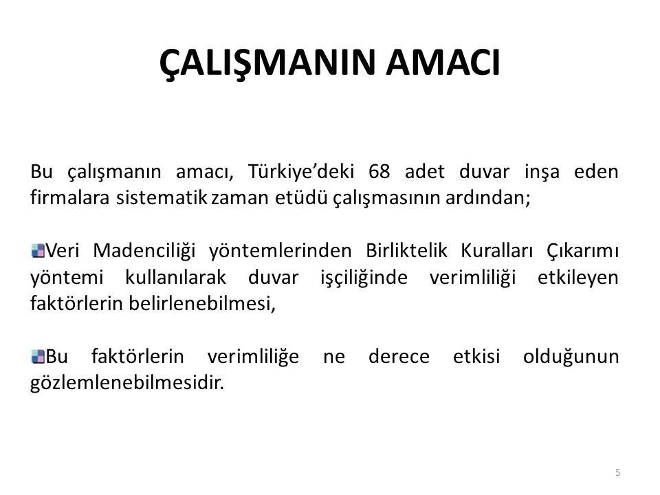ÇALIŞMANIN AMACI 5 Bu çalışmanın amacı, Türkiye'deki 68 adet duvar inşa eden firmalara sistematik zaman etüdü çalışmasının ardından; Veri Madenciliği