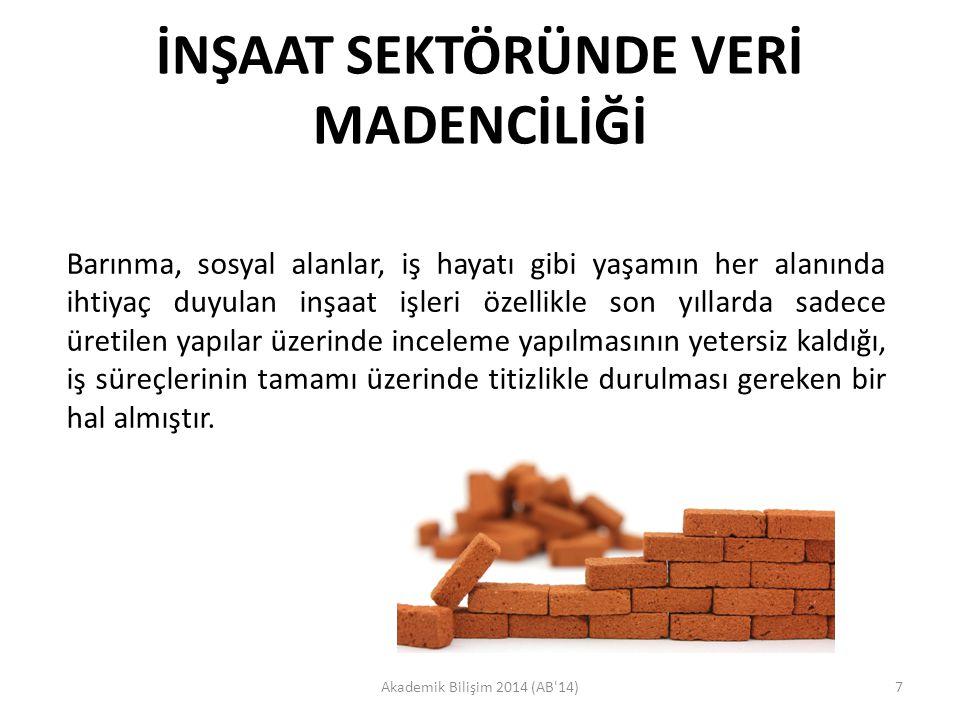 İNŞAAT SEKTÖRÜNDE VERİ MADENCİLİĞİ Akademik Bilişim 2014 (AB'14)7 Barınma, sosyal alanlar, iş hayatı gibi yaşamın her alanında ihtiyaç duyulan inşaat