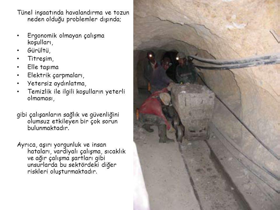 Tünel inşaatında havalandırma ve tozun neden olduğu problemler dışında; • Ergonomik olmayan çalışma koşulları, • Gürültü, • Titreşim, • Elle taşıma • Elektrik çarpmaları, • Yetersiz aydınlatma, • Temizlik ile ilgili koşulların yeterli olmaması, gibi çalışanların sağlık ve güvenliğini olumsuz etkileyen bir çok sorun bulunmaktadır.