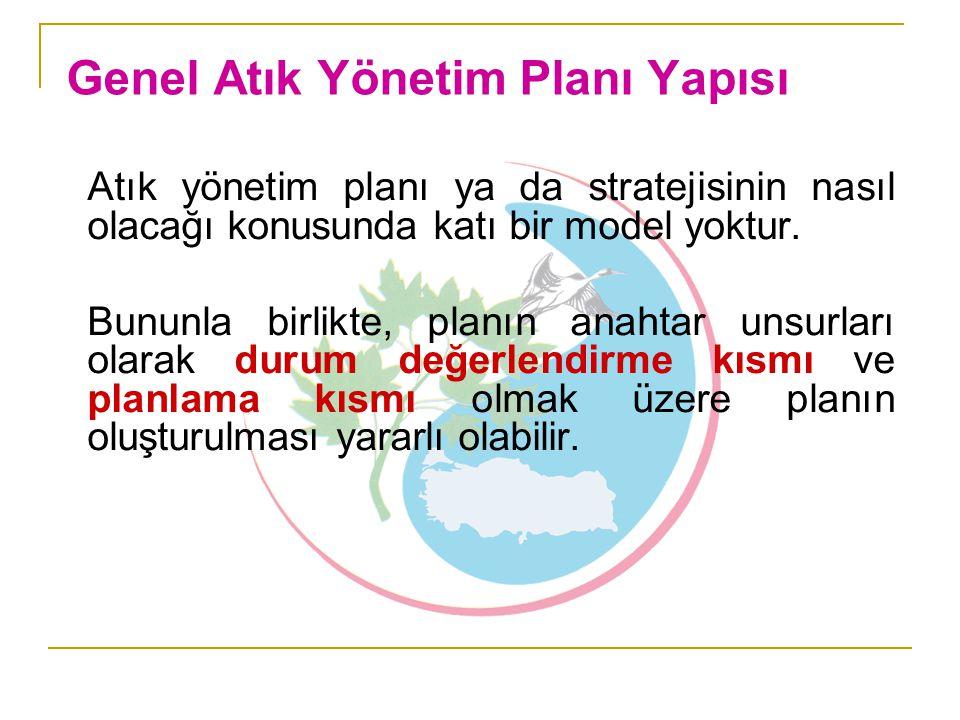 Atık yönetim planı ya da stratejisinin nasıl olacağı konusunda katı bir model yoktur. Bununla birlikte, planın anahtar unsurları olarak durum değerlen