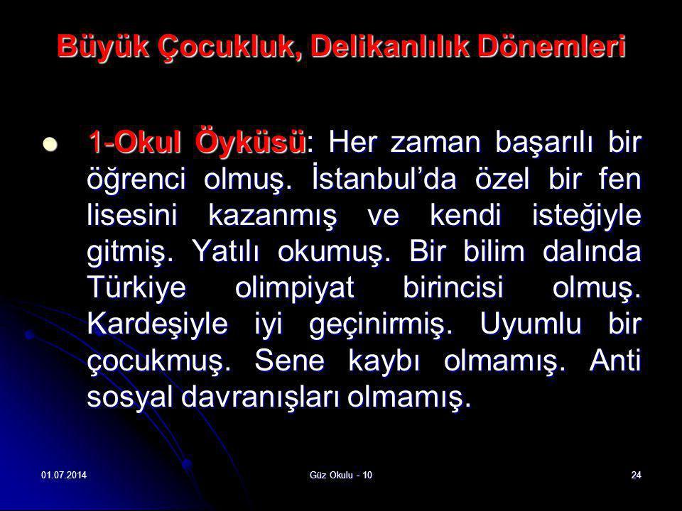 01.07.2014Güz Okulu - 1024 Büyük Çocukluk, Delikanlılık Dönemleri  1-Okul Öyküsü: Her zaman başarılı bir öğrenci olmuş. İstanbul'da özel bir fen lise