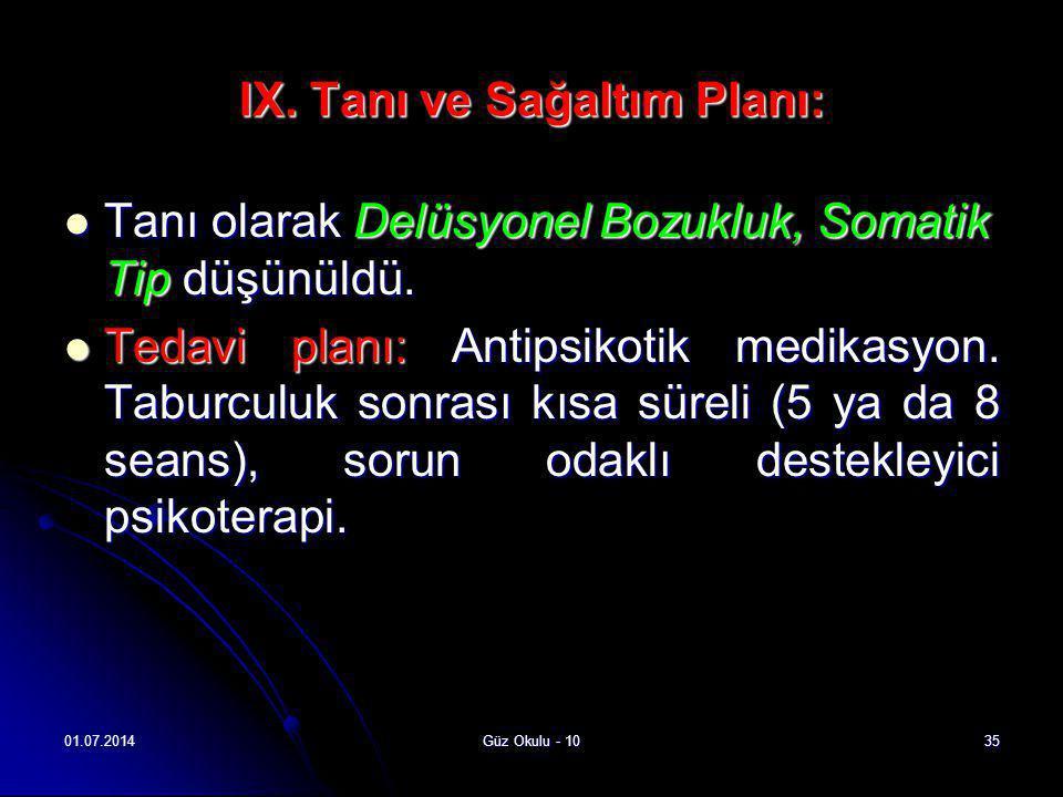 01.07.2014Güz Okulu - 1035 IX. Tanı ve Sağaltım Planı:  Tanı olarak Delüsyonel Bozukluk, Somatik Tip düşünüldü.  Tedavi planı: Antipsikotik medikasy