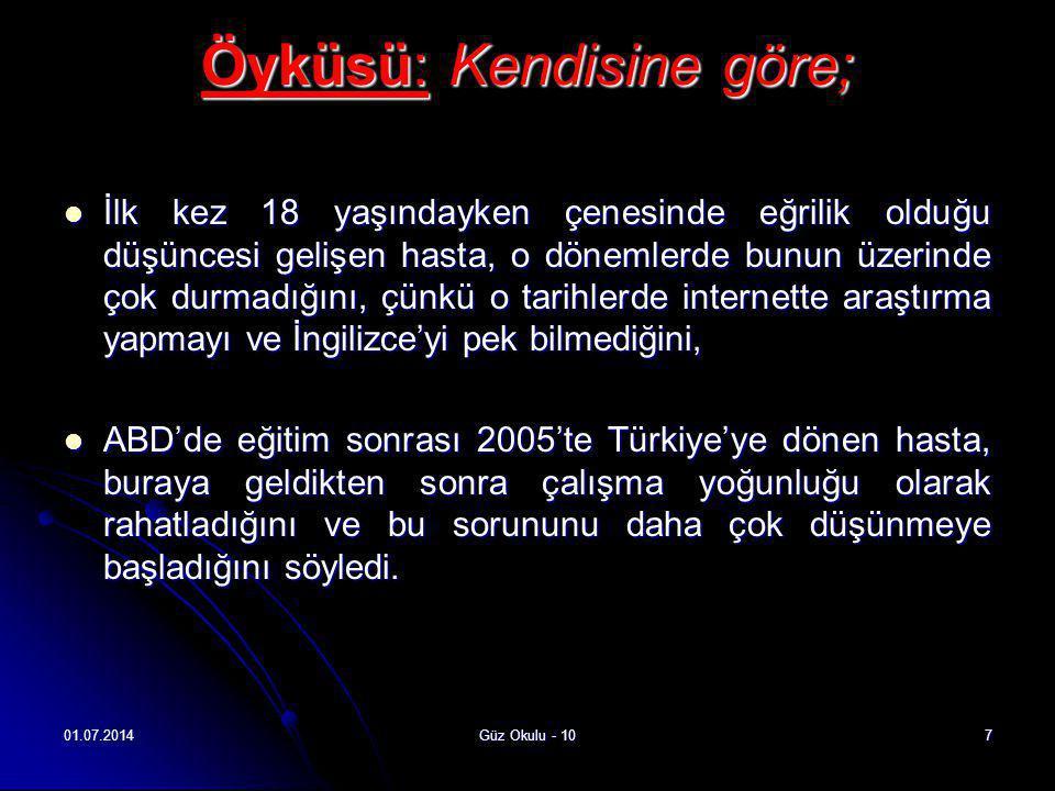 01.07.2014Güz Okulu - 108  2006 yılında İstanbul ve Ankara'da birçok klinik gezerek, plastik cerrah ve ortodontistlerle görüşmeler yapan hasta, bir cerrahın operasyonla ilgili komplikasyon risklerinden bahsetmesi üzerine o tarihlerde operasyondan vazgeçmiş.