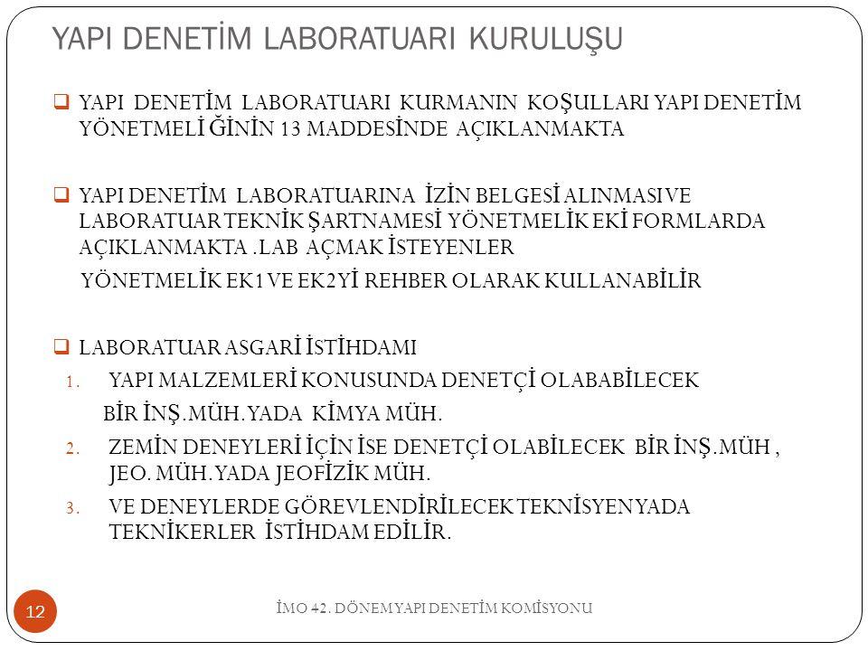 YAPI DENETİM LABORATUARI KURULUŞU İ MO 42.