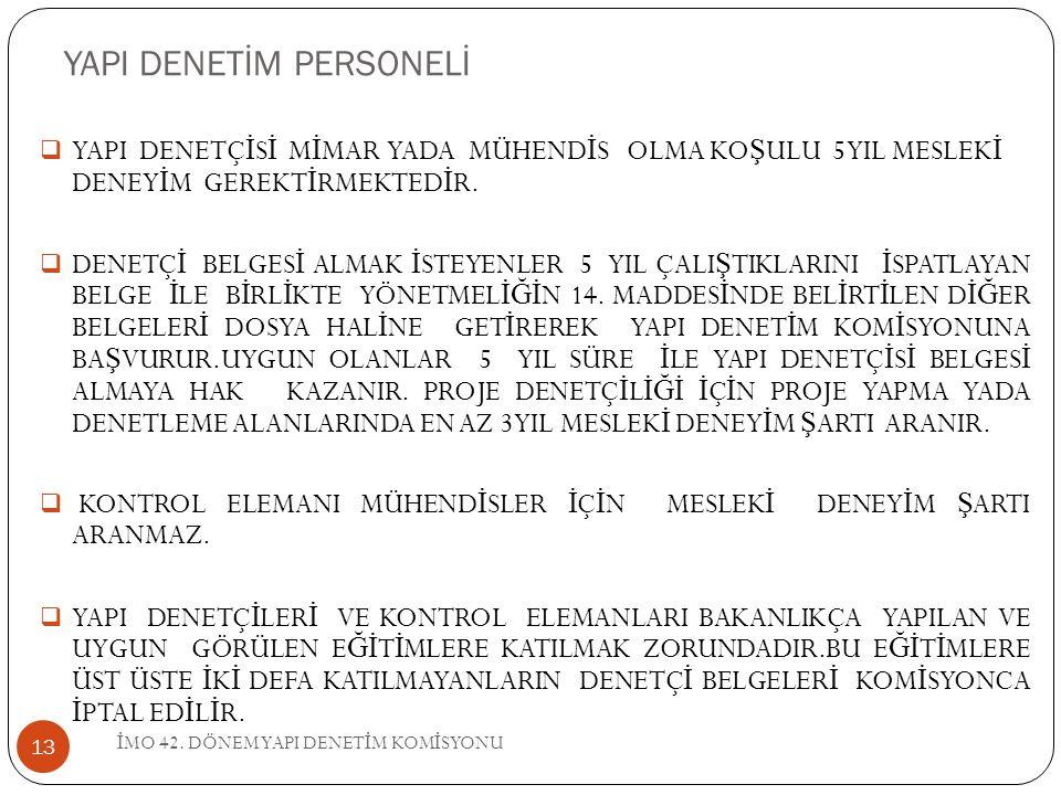YAPI DENETİM PERSONELİ İ MO 42.