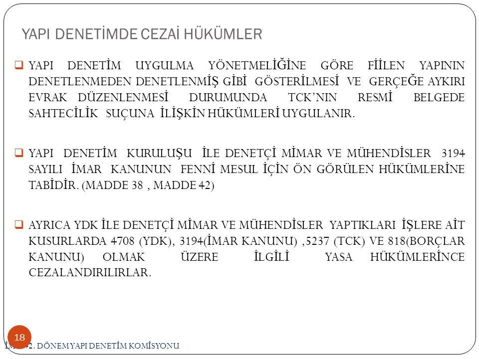 YAPI DENETİMDE CEZAİ HÜKÜMLER İ MO 42.