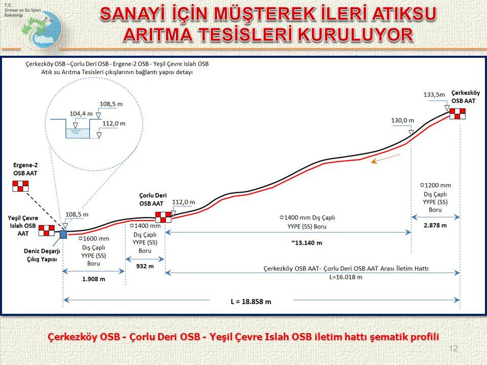 12 Çerkezköy OSB - Çorlu Deri OSB - Yeşil Çevre Islah OSB iletim hattı şematik profili