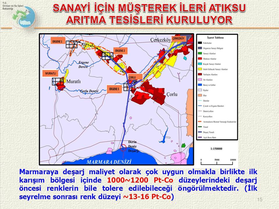 15 Marmaraya deşarj maliyet olarak çok uygun olmakla birlikte ilk karışım bölgesi içinde 1000~1200 Pt-Co düzeylerindeki deşarj öncesi renklerin bile t