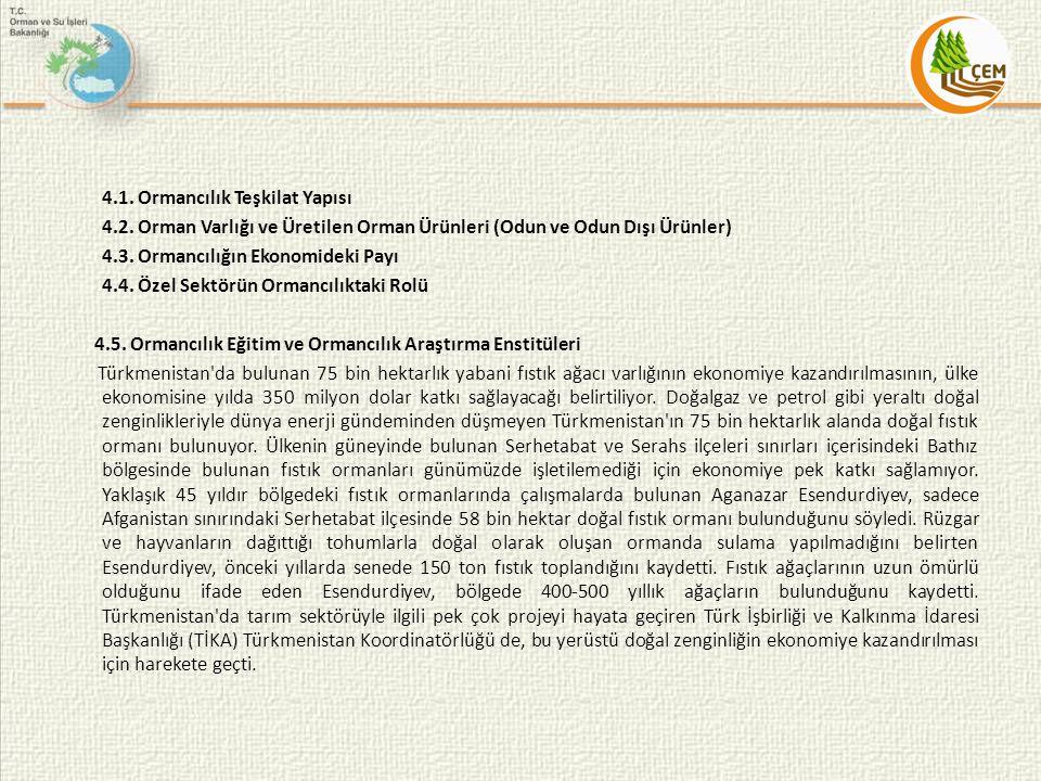 4.1. Ormancılık Teşkilat Yapısı 4.2. Orman Varlığı ve Üretilen Orman Ürünleri (Odun ve Odun Dışı Ürünler) 4.3. Ormancılığın Ekonomideki Payı 4.4. Özel