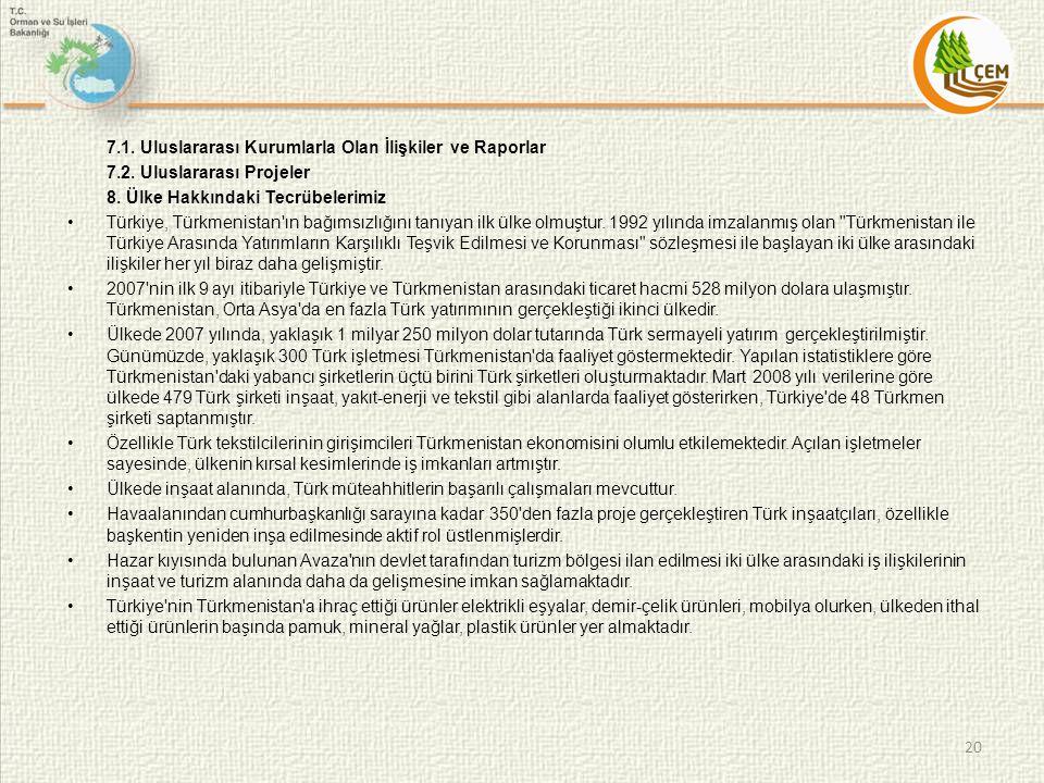 7.1. Uluslararası Kurumlarla Olan İlişkiler ve Raporlar 7.2. Uluslararası Projeler 8. Ülke Hakkındaki Tecrübelerimiz •Türkiye, Türkmenistan'ın bağımsı