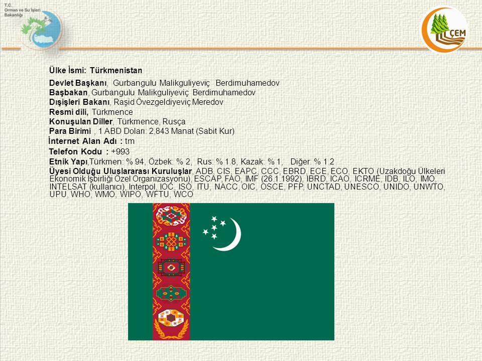Ülke İsmi: Türkmenistan Devlet Başkanı, Gurbangulu Malikguliyeviç Berdimuhamedov Başbakan, Gurbangulu Malikguliyeviç Berdimuhamedov Dışişleri Bakanı,
