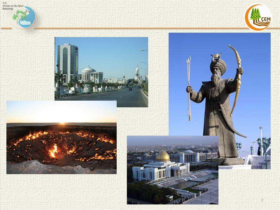 1.Coğrafi Verileri 1.1. Konumu Türkmenistan Orta Asya'nın kuzey bölgesinde yerleşmektedir.