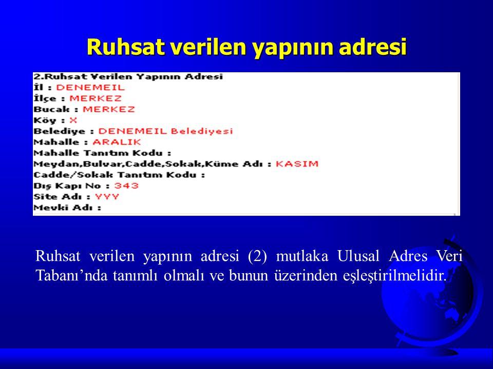 Ruhsat verilen yapının adresi Ruhsat verilen yapının adresi (2) mutlaka Ulusal Adres Veri Tabanı'nda tanımlı olmalı ve bunun üzerinden eşleştirilmelid