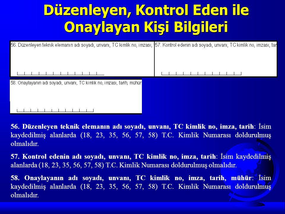 Düzenleyen, Kontrol Eden ile Onaylayan Kişi Bilgileri 56. Düzenleyen teknik elemanın adı soyadı, unvanı, TC kimlik no, imza, tarih: İsim kaydedilmiş a