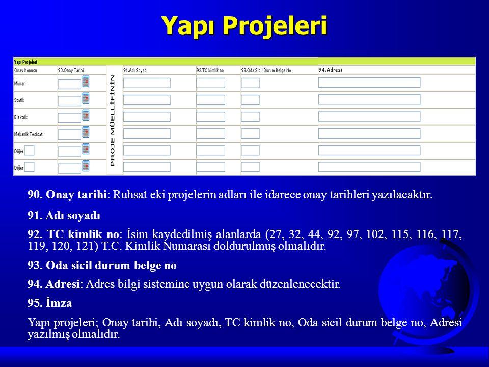 Yapı Projeleri 90. Onay tarihi: Ruhsat eki projelerin adları ile idarece onay tarihleri yazılacaktır. 91. Adı soyadı 92. TC kimlik no: İsim kaydedilmi