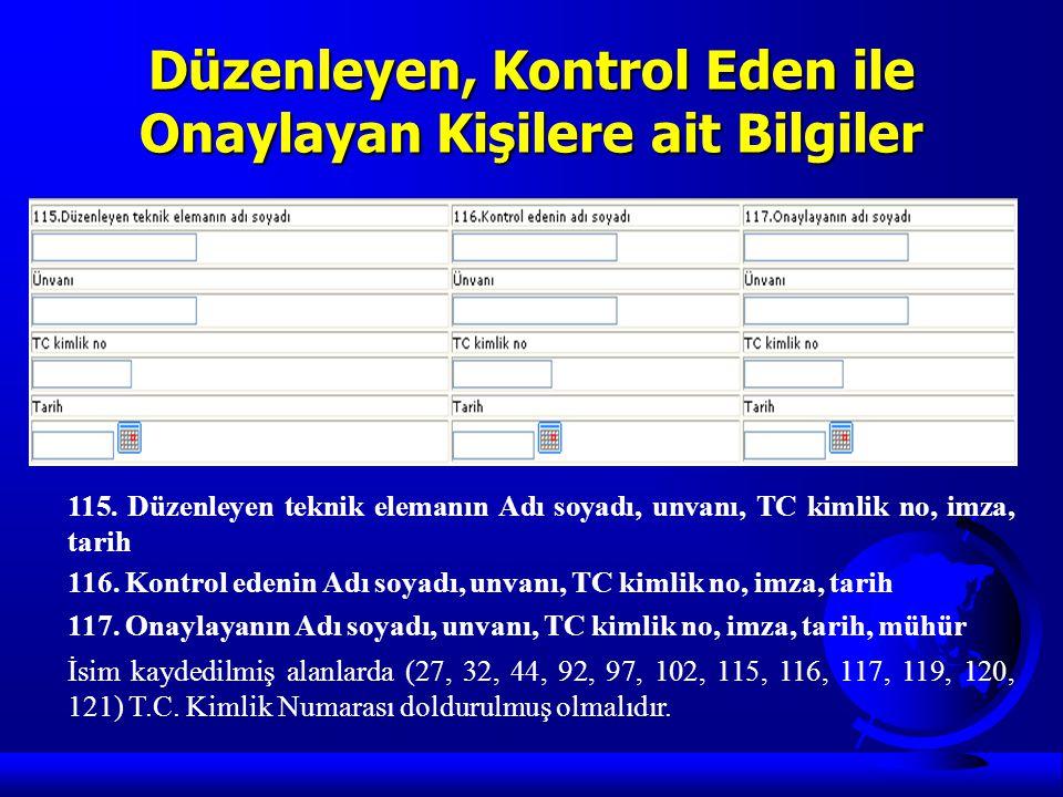 Düzenleyen, Kontrol Eden ile Onaylayan Kişilere ait Bilgiler 115. Düzenleyen teknik elemanın Adı soyadı, unvanı, TC kimlik no, imza, tarih 116. Kontro