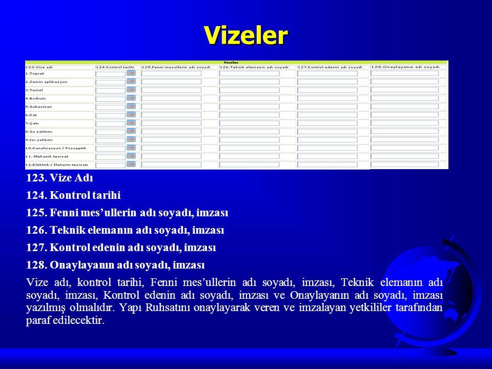 Vizeler 123. Vize Adı 124. Kontrol tarihi 125. Fenni mes'ullerin adı soyadı, imzası 126. Teknik elemanın adı soyadı, imzası 127. Kontrol edenin adı so