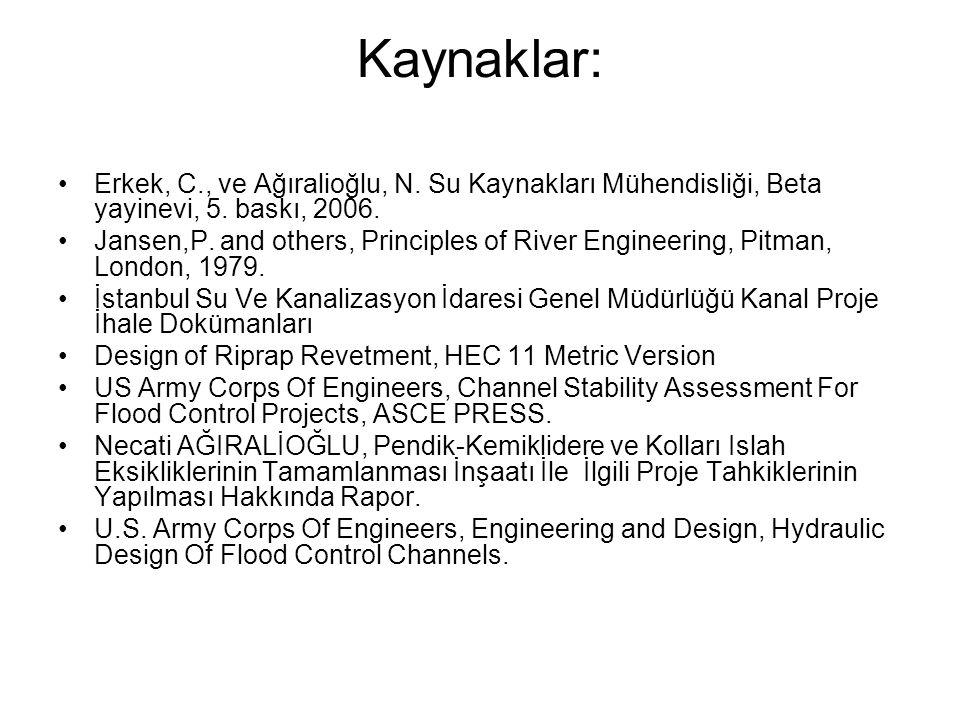Kaynaklar: •Erkek, C., ve Ağıralioğlu, N. Su Kaynakları Mühendisliği, Beta yayinevi, 5. baskı, 2006. •Jansen,P. and others, Principles of River Engine