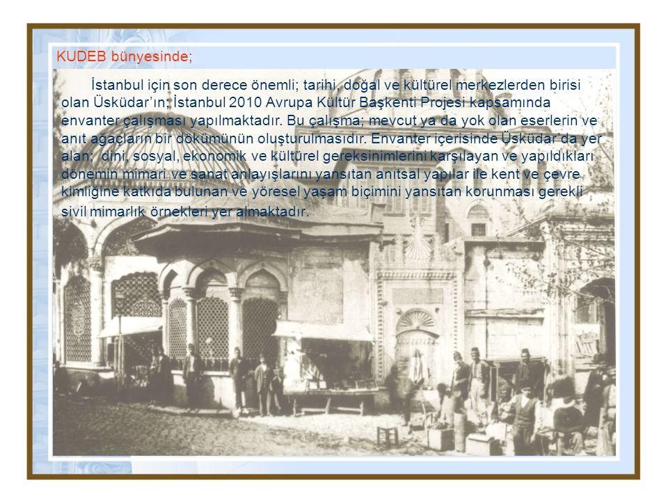 KUDEB bünyesinde; İstanbul için son derece önemli; tarihi, doğal ve kültürel merkezlerden birisi olan Üsküdar'ın; İstanbul 2010 Avrupa Kültür Başkenti Projesi kapsamında envanter çalışması yapılmaktadır.