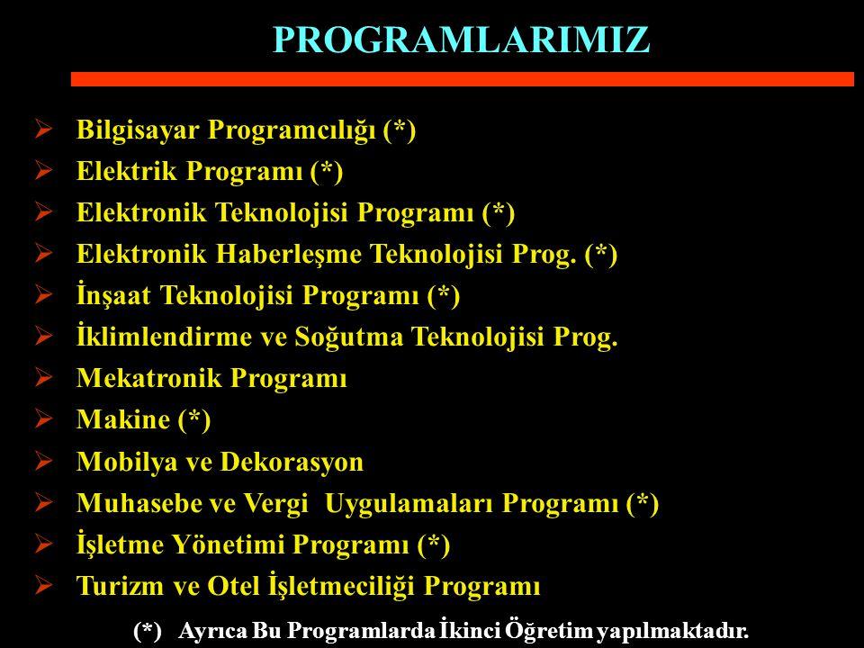  Bilgisayar Programcılığı (*)  Elektrik Programı (*)  Elektronik Teknolojisi Programı (*)  Elektronik Haberleşme Teknolojisi Prog.
