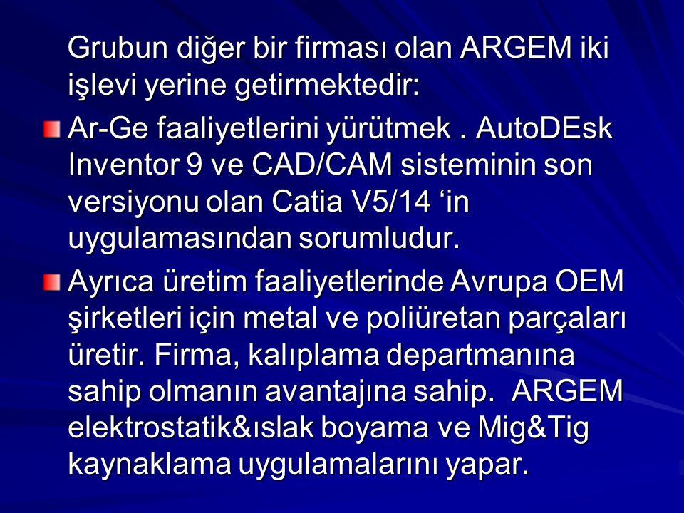 Grubun diğer bir firması olan ARGEM iki işlevi yerine getirmektedir: Grubun diğer bir firması olan ARGEM iki işlevi yerine getirmektedir: Ar-Ge faaliy