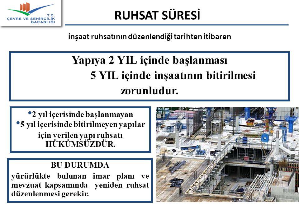 RUHSAT SÜRESİ inşaat ruhsatının düzenlendiği tarihten itibaren Yapıya 2 YIL içinde başlanması 5 YIL içinde inşaatının bitirilmesi zorunludur.