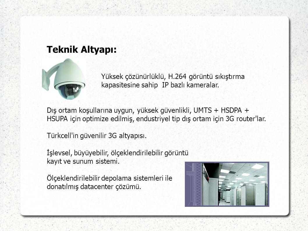 Teknik Altyapı: Yüksek çözünürlüklü, H.264 görüntü sıkıştırma kapasitesine sahip IP bazlı kameralar. Dış ortam koşullarına uygun, yüksek güvenlikli, U