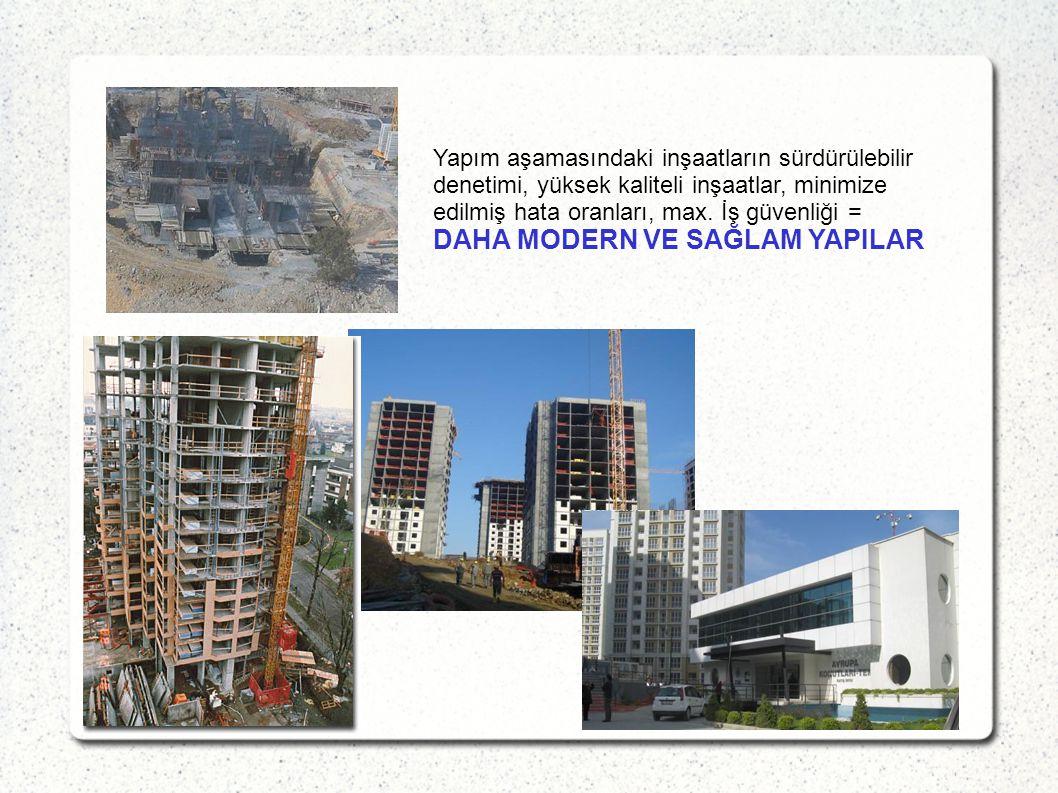 Yapım aşamasındaki inşaatların sürdürülebilir denetimi, yüksek kaliteli inşaatlar, minimize edilmiş hata oranları, max. İş güvenliği = DAHA MODERN VE