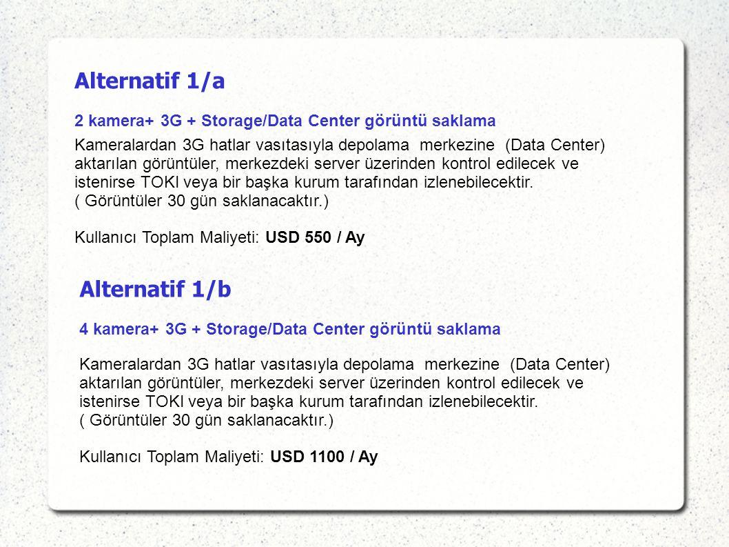 Alternatif 1/a 2 kamera+ 3G + Storage/Data Center görüntü saklama Alternatif 1/b 4 kamera+ 3G + Storage/Data Center görüntü saklama Kameralardan 3G hatlar vasıtasıyla depolama merkezine (Data Center) aktarılan görüntüler, merkezdeki server üzerinden kontrol edilecek ve istenirse TOKI veya bir başka kurum tarafından izlenebilecektir.
