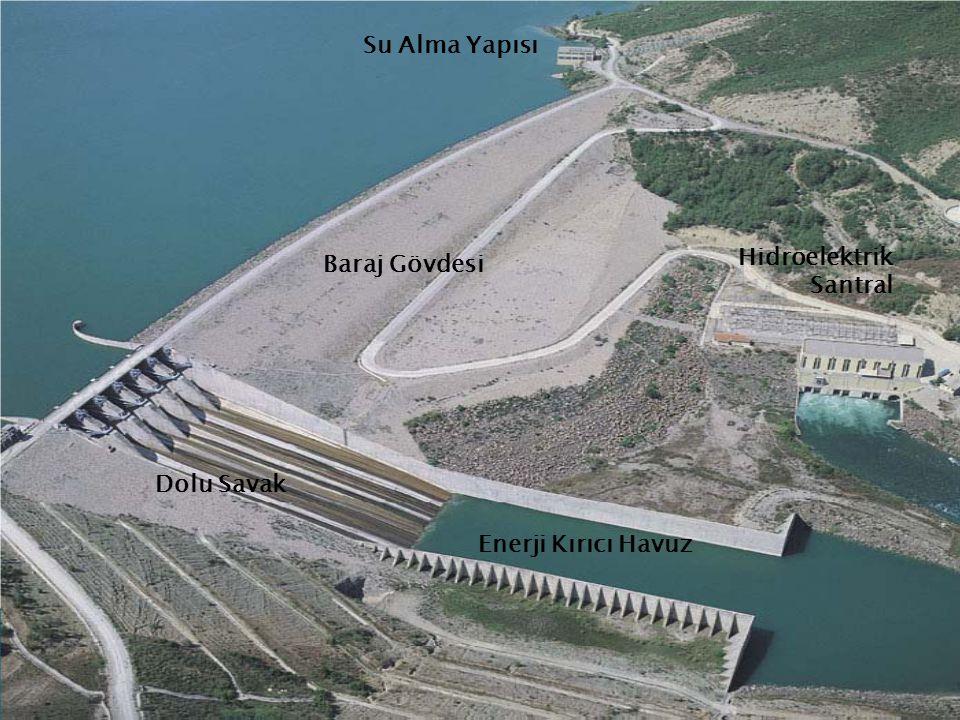 Su Alma Yapısı Baraj Gövdesi Hidroelektrik Santral Dolu Savak Enerji Kırıcı Havuz
