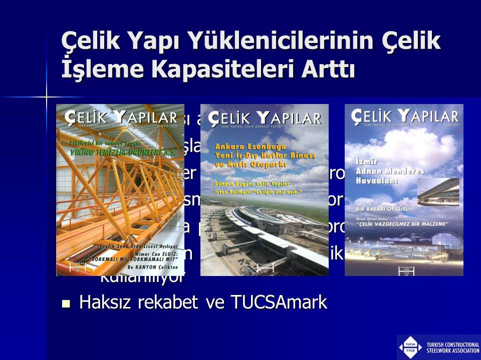 Çelik Yapı Yüklenicilerinin Çelik İşleme Kapasiteleri Arttı  Kuruluş sayısı arttı  Kapasite artışları oldu  Türkiye'de her alanda büyük projeler 