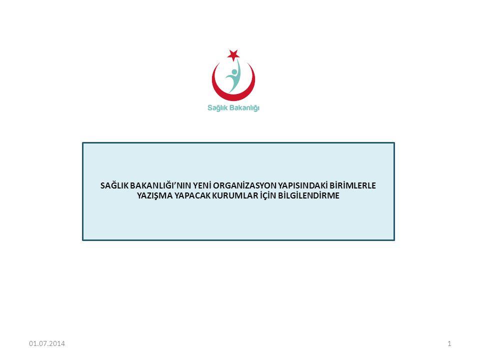 Türkiye Halk Sağlığı Kurumu BAĞLI KURULUŞLAR HİZMET BİRİMLERİ Türkiye İlaç ve Tıbbi Cihaz Kurumu Türkiye Kamu Hastaneleri Kurumu Dış İlişkiler ve Avrupa Birliği Genel Müdürlüğü Sağlık Bilgi Sistemleri Genel Müdürlüğü Strateji Geliştirme Başkanlığı Sağlığın Geliştirilmesi Genel Müdürlüğü Sağlık Araştırmaları Genel Müdürlüğü Hukuk Müşavirliği Yönetim Hizmetleri Genel Müdürlüğü SAĞLIK BAKANLIĞI ESKİ VE YENİ TEŞKİLAT KARŞILAŞTIRMASI Acil Sağlık Hizmetleri Genel Müdürlüğü Türkiye Hudut ve Sahiller Sağlık Genel Müdürlüğü Denetim Hizmetleri Başkanlığı Sağlık Yatırımları Genel Müdürlüğü Sağlık Hizmetleri Genel Müdürlüğü Hudut ve Sahiller Sağlık Genel Müdürlüğü Refik Saydam Hıfzıssıhha Merkezi Başkanlığı İdari ve Mali İşler Dairesi Başkanlığı Personel Genel Müdürlüğü Strateji Geliştirme Başkanlığı Basın ve Halkla İlişkiler Müşavirliği Hukuk Müşavirliği Teftiş Kurulu Başkanlığı Kamu Özel Ortaklığı Daire Başkanlığı İnşaat ve Onarım Dairesi Başkanlığı AB Koordinasyon Dairesi Başkanlığı Dış İlişkiler Dairesi Başkanlığı Kanserle Savaş Dairesi Başkanlığı Verem Savaşı Dairesi Başkanlığı Sıtma Savaşı Dairesi Başkanlığı Sağlık Eğitimi Genel Müdürlüğü İlaç ve Eczacılık Genel Müdürlüğü AÇ-SAP Genel Müdürlüğü Temel Sağlık Hizmetleri Genel Müdürlüğü Tedavi Hizmetleri Genel Müdürlüğü 201.07.2014