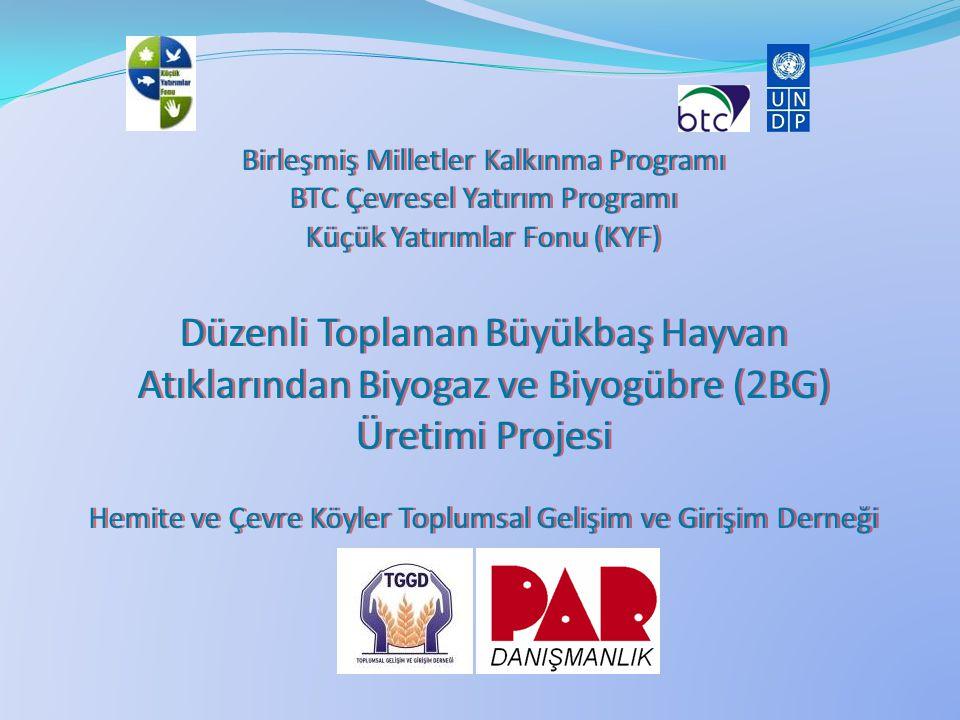Birleşmiş Milletler Kalkınma Programı BTC Çevresel Yatırım Programı Küçük Yatırımlar Fonu (KYF) Düzenli Toplanan Büyükbaş Hayvan Atıklarından Biyogaz ve Biyogübre (2BG) Üretimi Hemite ve Çevre Köyler Toplumsal Gelişim ve Girişim Derneği Proje Alanı: Osmaniye iline bağlı Hemite (Gökçedem) Köyü Uygulayıcı Kuruluş: Hemite ve Çevre Köyler Toplumsal Gelişim ve Girişim Derneği Kuruluş tarihi: 20.08.2006 Üye sayısı: 192 Üye profili: Üyelerin meslek durumu: Çiftçi, yaş dağılımı: 18-35 arası 52 üye, 35-50+ 140 üye; çalışmalara destek durumu: aidat ödeme, faaliyet bazlı katılım Geçmiş çalışmaları: Mikro-kredi faaliyetleri, 102 sandık üyesine kişi başı 750 şer YTL, 6 ay geri ödemeli kredi.