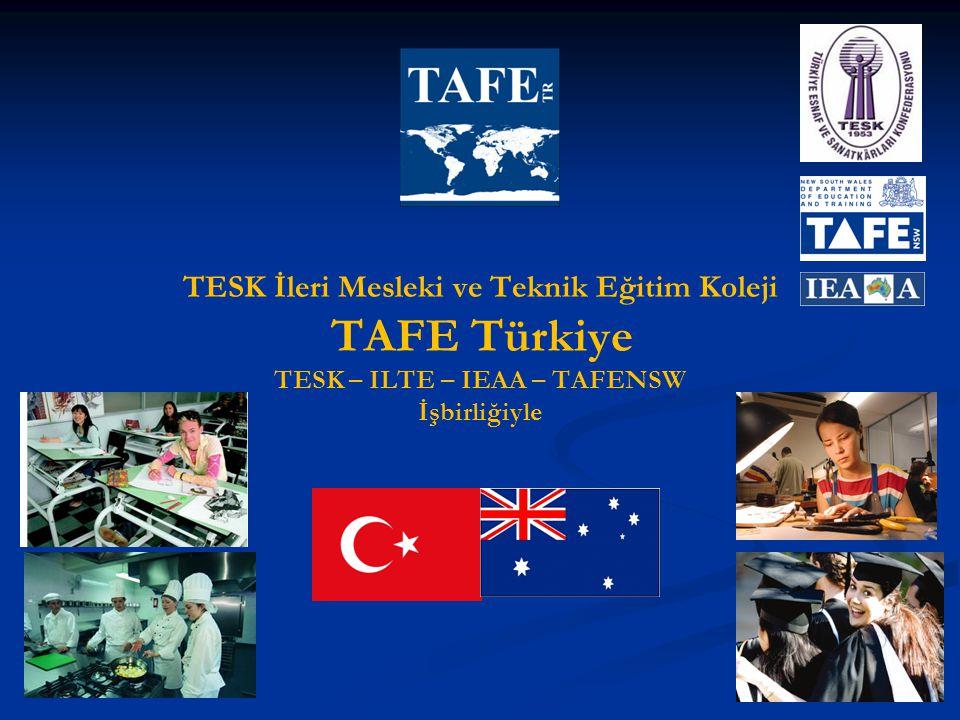 TESK İleri Mesleki ve Teknik Eğitim Koleji TAFE Türkiye TESK – ILTE – IEAA – TAFENSW İşbirliğiyle