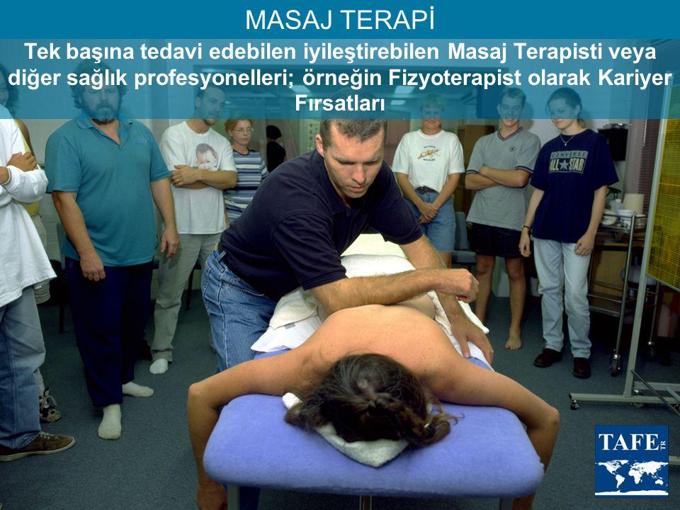 Tek başına tedavi edebilen iyileştirebilen Masaj Terapisti veya diğer sağlık profesyonelleri; örneğin Fizyoterapist olarak Kariyer Fırsatları MASAJ TE
