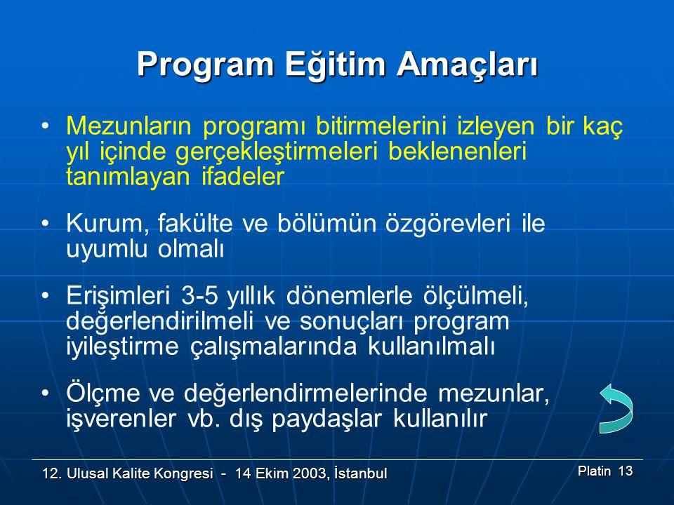 12. Ulusal Kalite Kongresi - 14 Ekim 2003, İstanbul Platin 13 Program Eğitim Amaçları •Mezunların programı bitirmelerini izleyen bir kaç yıl içinde ge