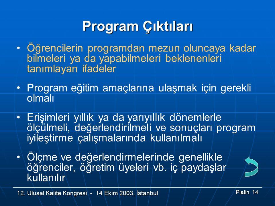 12. Ulusal Kalite Kongresi - 14 Ekim 2003, İstanbul Platin 14 Program Çıktıları •Öğrencilerin programdan mezun oluncaya kadar bilmeleri ya da yapabilm