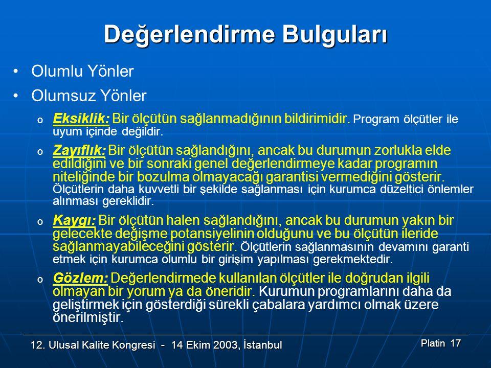 12. Ulusal Kalite Kongresi - 14 Ekim 2003, İstanbul Platin 17 Değerlendirme Bulguları •Olumlu Yönler •Olumsuz Yönler o Eksiklik: Bir ölçütün sağlanmad