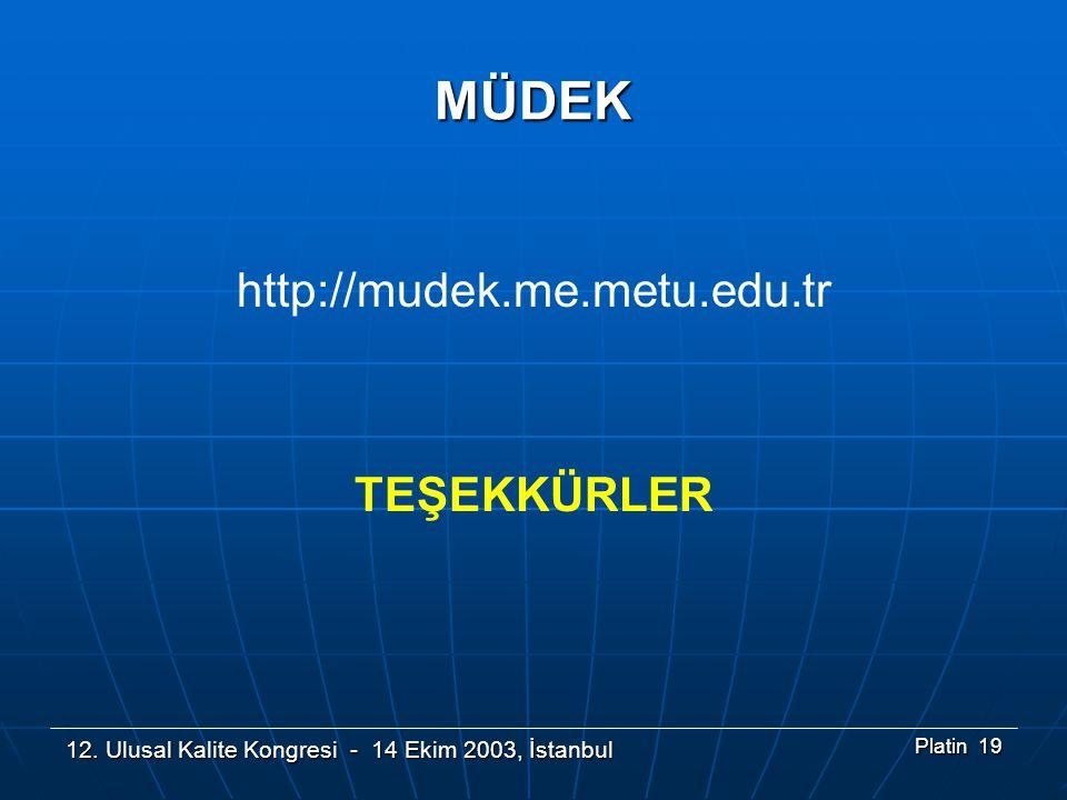 12. Ulusal Kalite Kongresi - 14 Ekim 2003, İstanbul Platin 19 MÜDEK http://mudek.me.metu.edu.tr TEŞEKKÜRLER