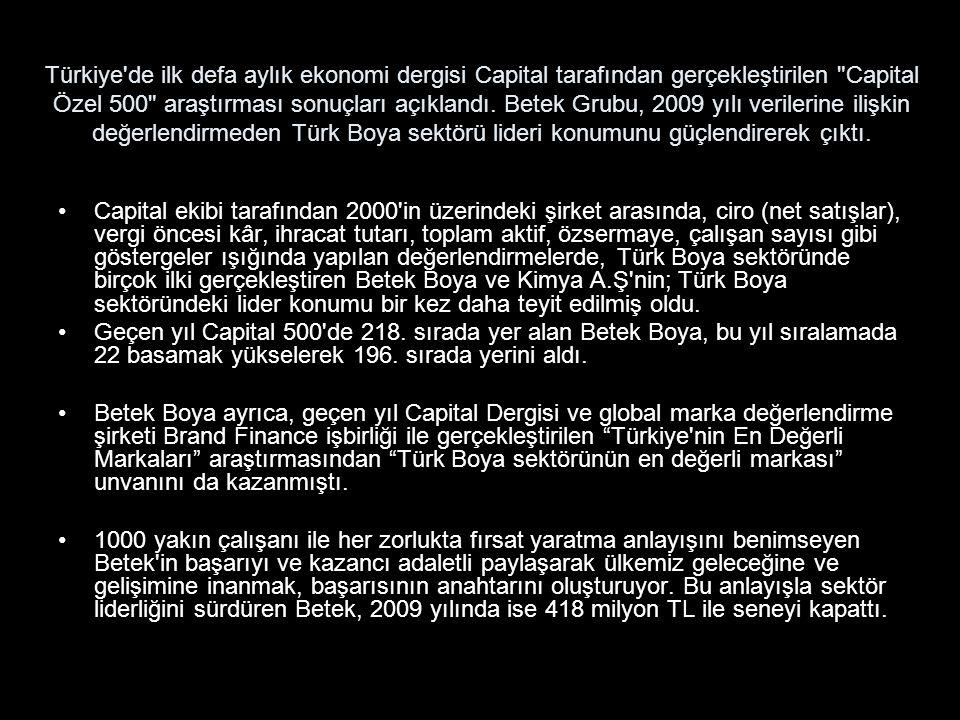 Türkiye de ilk defa aylık ekonomi dergisi Capital tarafından gerçekleştirilen Capital Özel 500 araştırması sonuçları açıklandı.